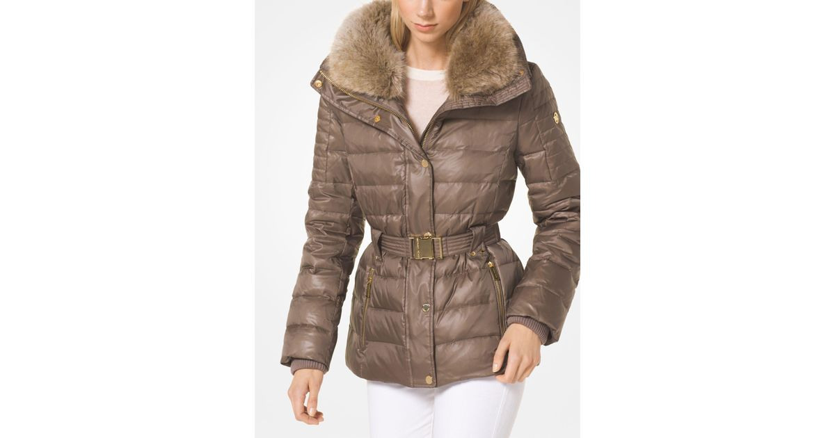 57adf79a67a2 Lyst - Michael Kors Quilted Down And Faux Fur Puffer Jacket in Brown