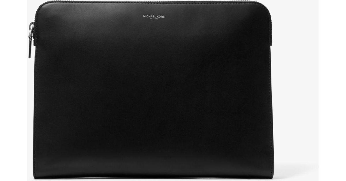 e25aa9f683 Michael Kors Henry Leather Portfolio Case in Black for Men - Lyst