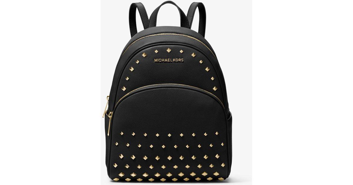 532db21bdf4da3 MICHAEL Michael Kors Abbey Medium Studded Pebbled Leather Backpack in Black  - Lyst