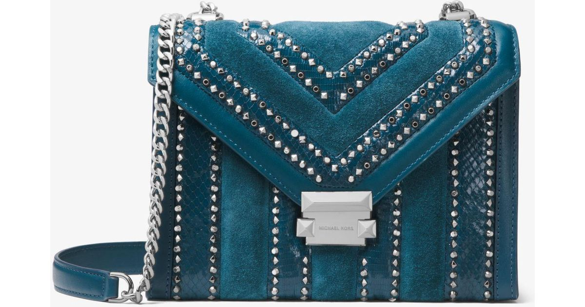 2978ca0b3d Lyst - Michael Kors Whitney Large Mixed-media Convertible Shoulder Bag in  Blue