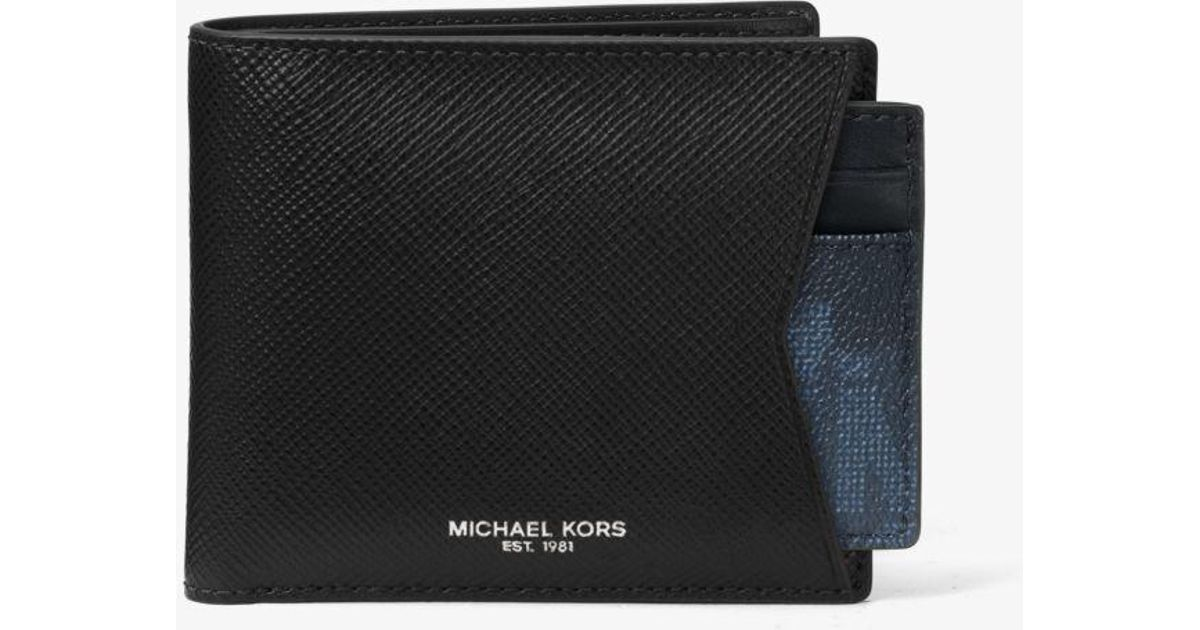 e4cbd9b3ff2a0e Michael Kors Painterly Camo Leather Billfold Wallet And Card Case Set in  Black for Men - Lyst