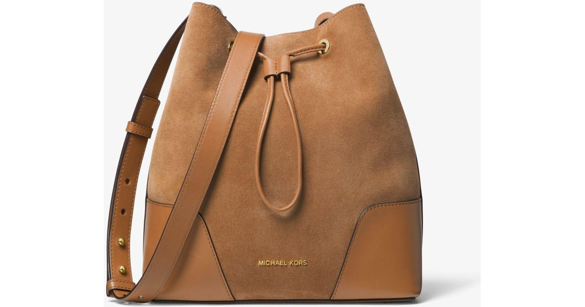 b1c3d3db5ed4 Lyst - Michael Kors Cary Medium Suede And Leather Bucket Bag in Brown