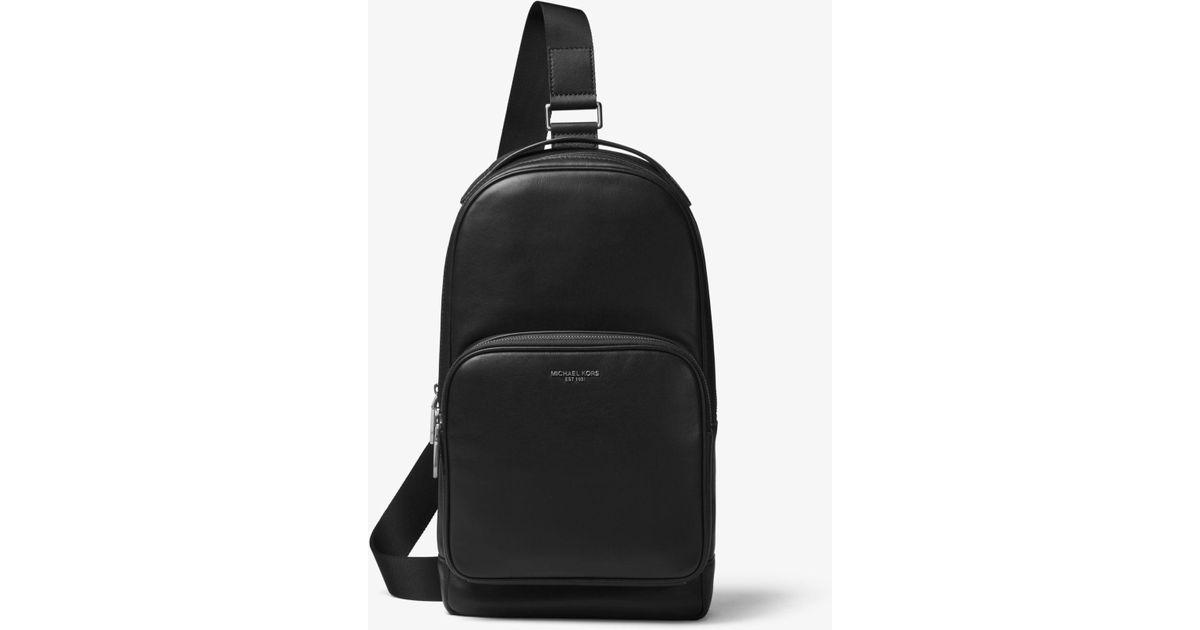 656325aa89e9 Michael Kors Henry Leather Sling Pack in Black for Men - Lyst