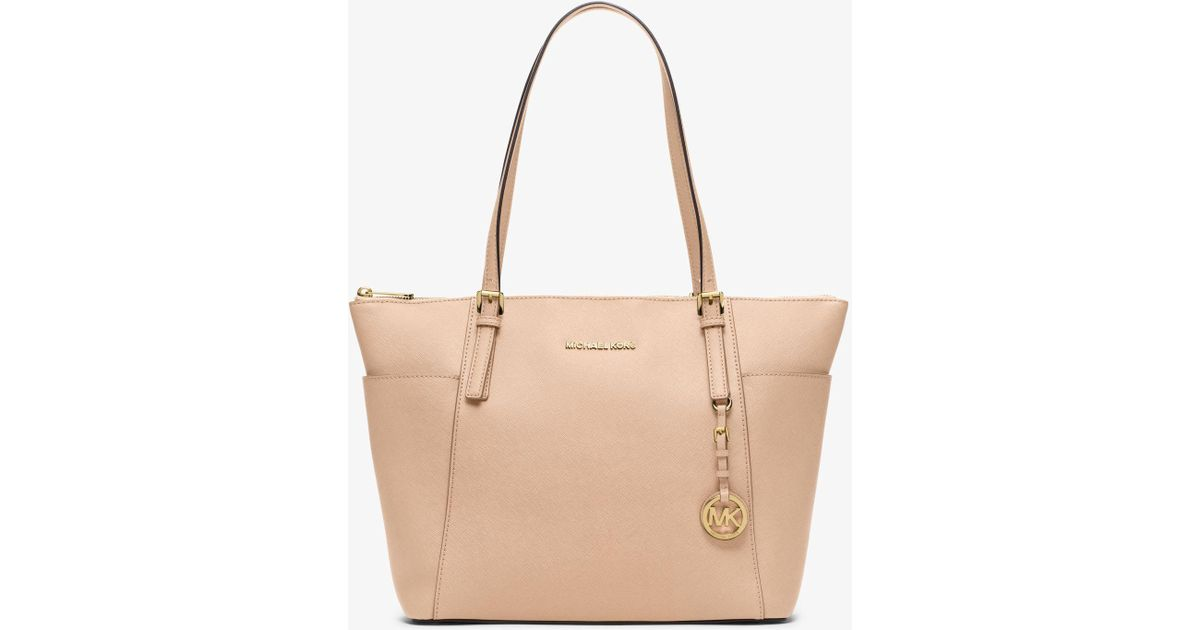 a433a71f8a Michael Kors Jet Set Large Top-zip Saffiano Leather Tote in Natural - Lyst