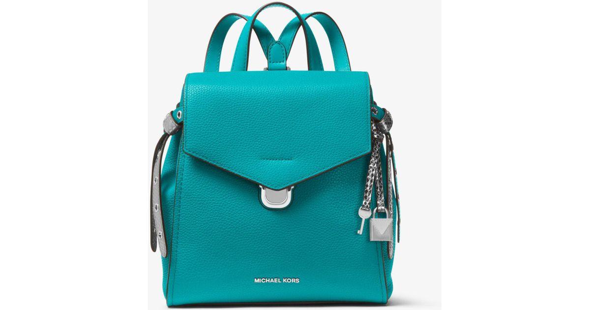 c3e48dda82e48 Lyst - Michael Kors Bristol Small Leather Backpack in Blue