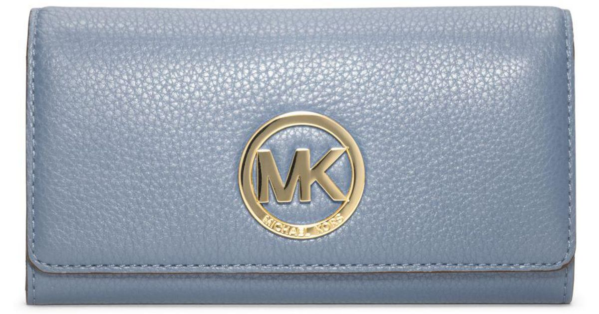 5b6fd2a0691a Michael Kors Fulton Leather Carryall Wallet in Blue - Lyst