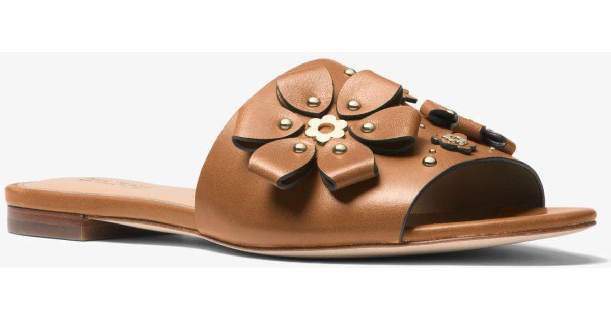 03fb7be5a57 Michael Kors Tara Floral Embellished Leather Slide - Lyst