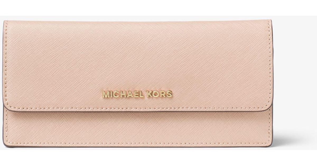 e16bb15610d8e9 Michael Kors Travel Slim Saffiano Leather Wallet in Pink - Lyst