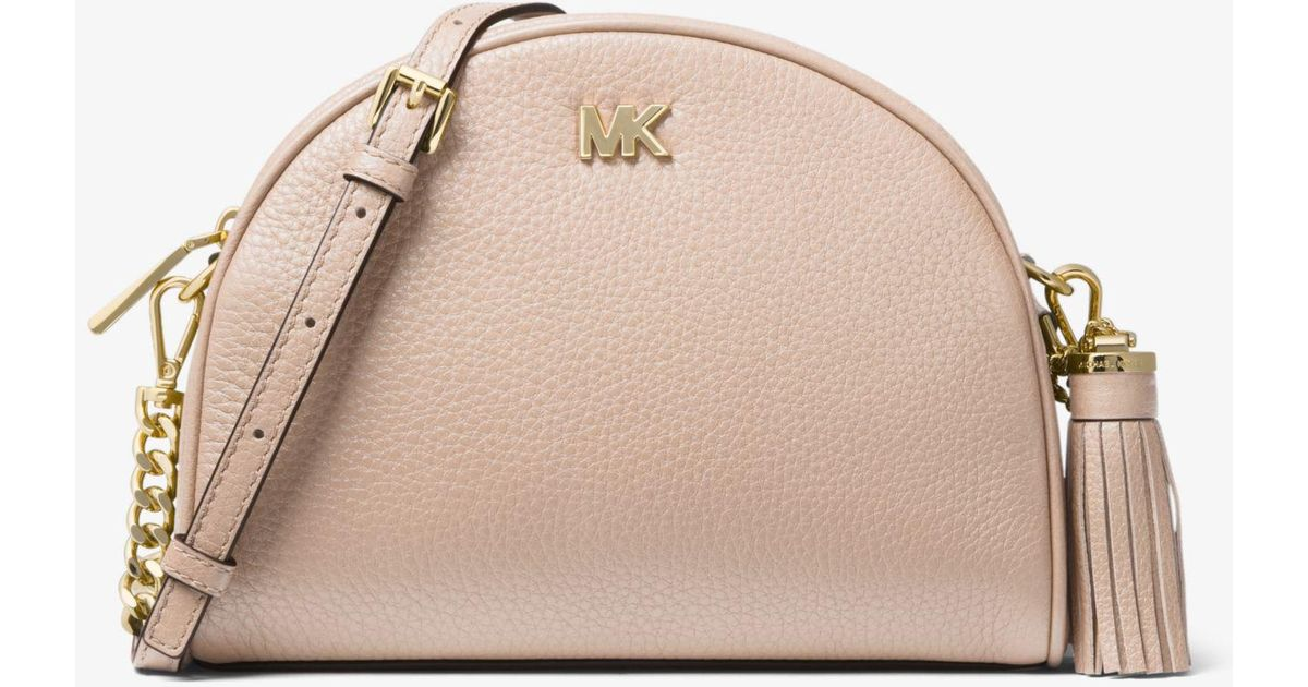 9dad18e05bec Michael Kors Ginny Pebbled Leather Half-moon Crossbody in Pink - Lyst