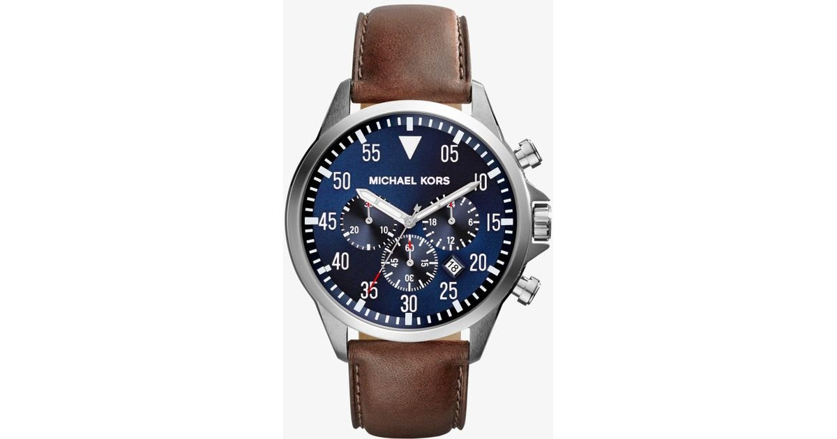 7ccaf76f4941 Lyst - Michael Kors Oversized Gage Silver-tone And Leather Watch in  Metallic for Men