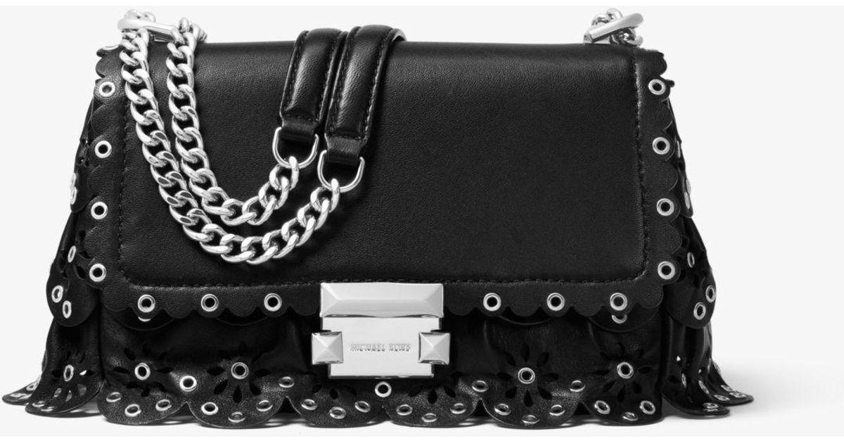 d96ba09d89e14 Lyst - Michael Kors Sloan Small Floral Scalloped Leather Shoulder Bag in  Black