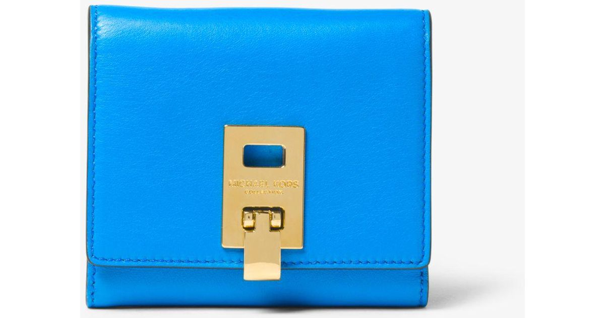4336d6a497eb Lyst - Michael Kors Miranda French Calf Leather Wallet in Blue
