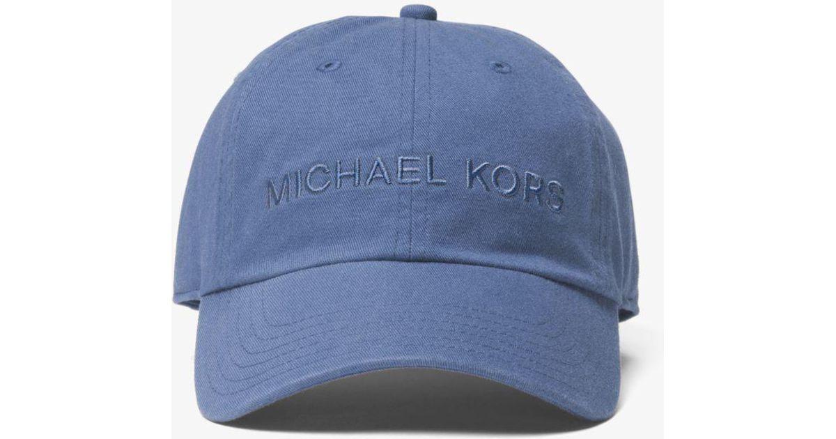 f0fbdf6e5fd Lyst - Michael Kors Logo Cotton Cap in Blue for Men