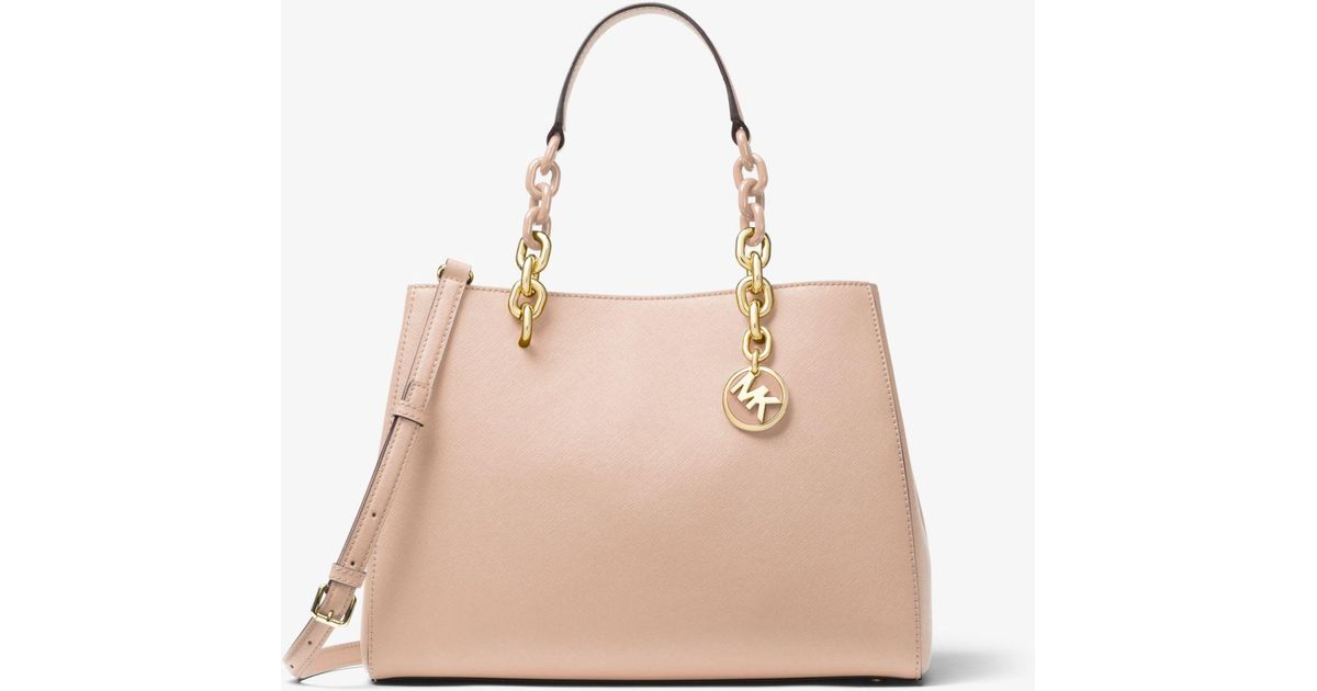 9c01a068ded2 Michael Kors Cynthia Saffiano Leather Satchel in Pink - Lyst