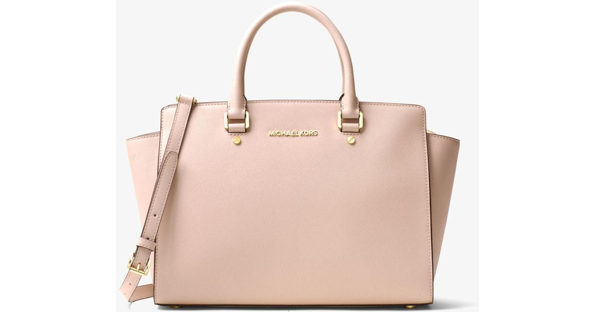 838f29655900 Michael Kors Selma Large Saffiano Leather Satchel in Pink - Lyst