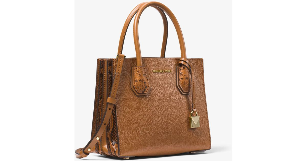1bb5fe279f66 Lyst - Michael Kors Mercer Medium Pebbled Leather Accordion Crossbody Bag  in Brown