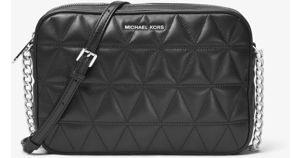 2490d0b4582e Lyst - Michael Kors Jet Set Travel Quilted-leather Crossbody in Black