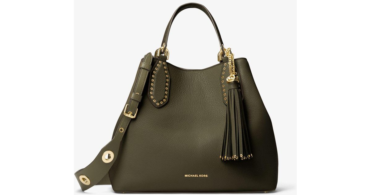 32337ef69e73b0 ... coupon lyst michael kors brooklyn large leather satchel in green 7d5ed  84929