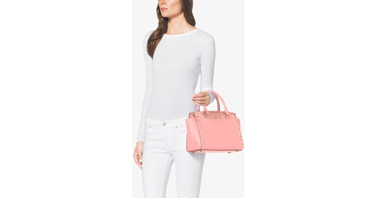 e3ec77565df2 ... tz satchel blossom white pale pink 48220 30bef  cheap lyst michael kors  selma medium studded saffiano leather satchel in c5d29 f19e2