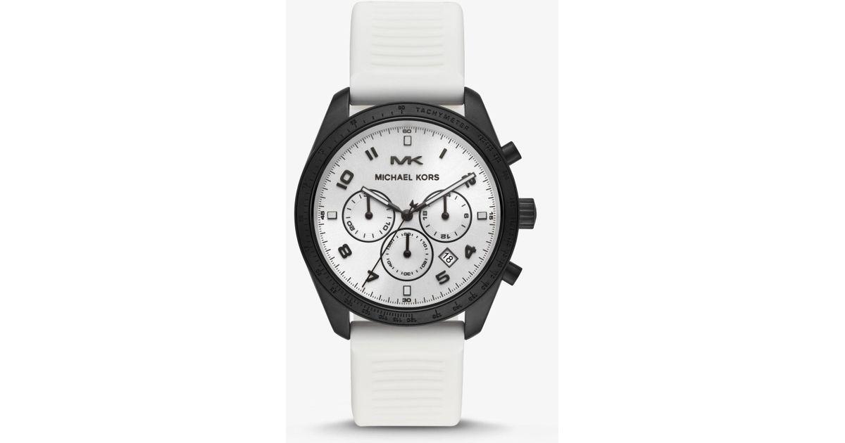 a30d0a428e0e Reloj Keaton en tono negro con correa de silicona Michael Kors de hombre de  color Blanco - Lyst