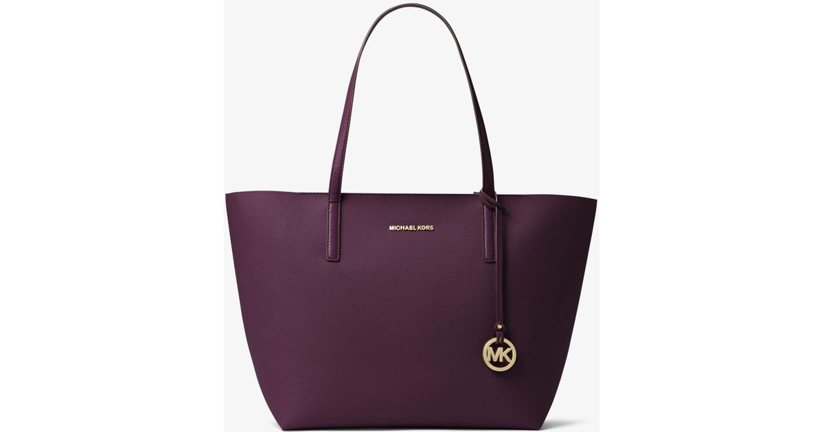 fe1a28c1b373 Michael Kors Hayley Large Coated Canvas Tote in Purple - Lyst