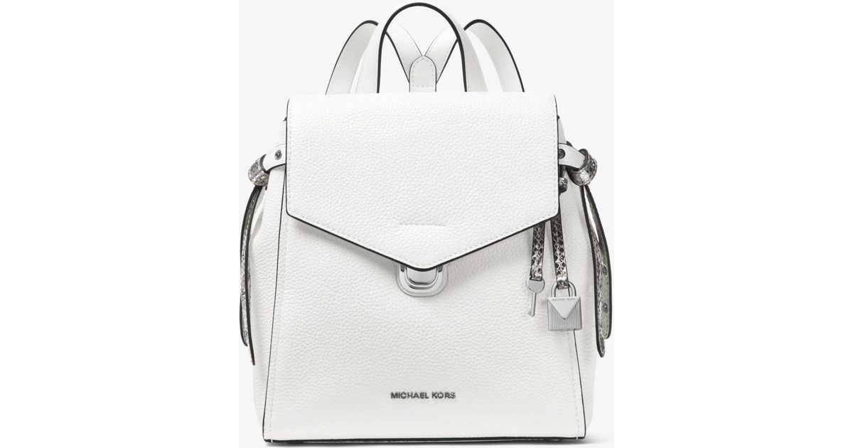 40ffe5f16362e Lyst - Michael Kors Bristol Small Leather Backpack in White