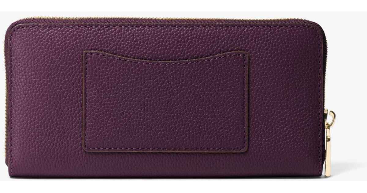 30005f14a97d Lyst - Michael Kors Jet Set Saffiano Leather Continental Wallet in Purple