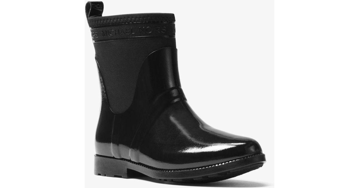 6cbc3d39ca0c63 Lyst - MICHAEL Michael Kors Hilda Rubber And Neoprene Rain Boot in Black