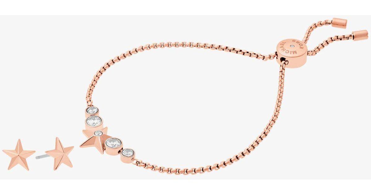 3f528540dc03 Lyst - Michael Kors Rose Gold-tone Star Slider Bracelet And Earrings Set in  Metallic