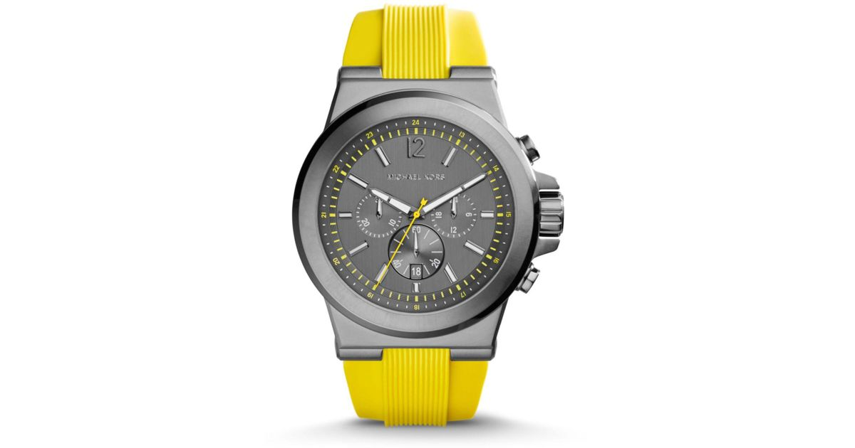 a8c73268a438 Lyst - Michael Kors Dylan Gunmetal Silicone Watch in Yellow for Men