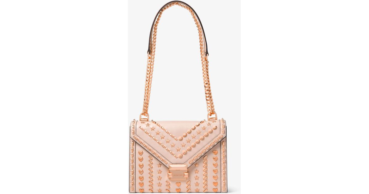 beed46352767d Lyst - Michael Kors Whitney Large Studded Leather Shoulder Bag in Pink