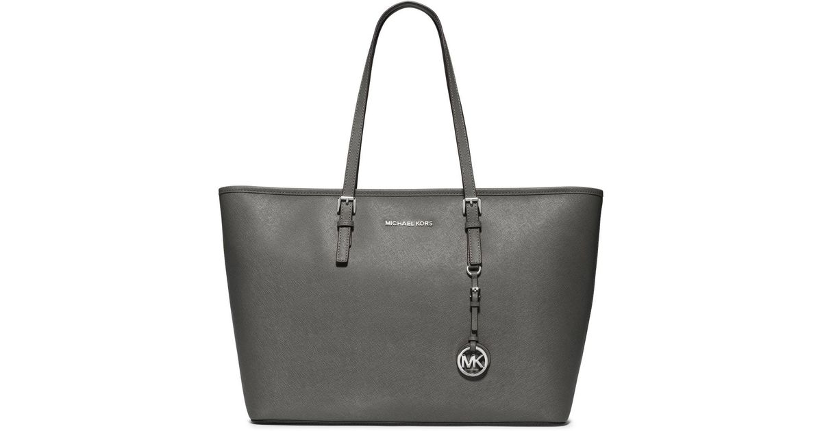 6c87b14b03 Lyst - Michael Kors Jet Set Travel Medium Saffiano Leather Top-zip Tote in  Gray