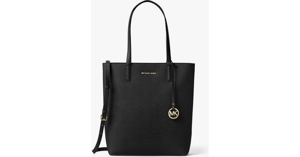 e699383ebf1a Michael Kors Hayley Large Top-zip Leather Tote Bag in Black - Lyst