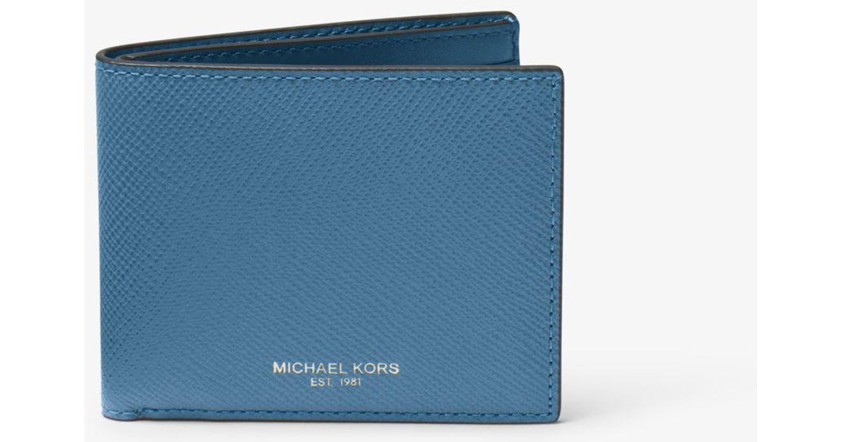 2cab0c608531 Michael Kors Harrison Leather Slim Billfold Wallet in Blue for Men - Lyst