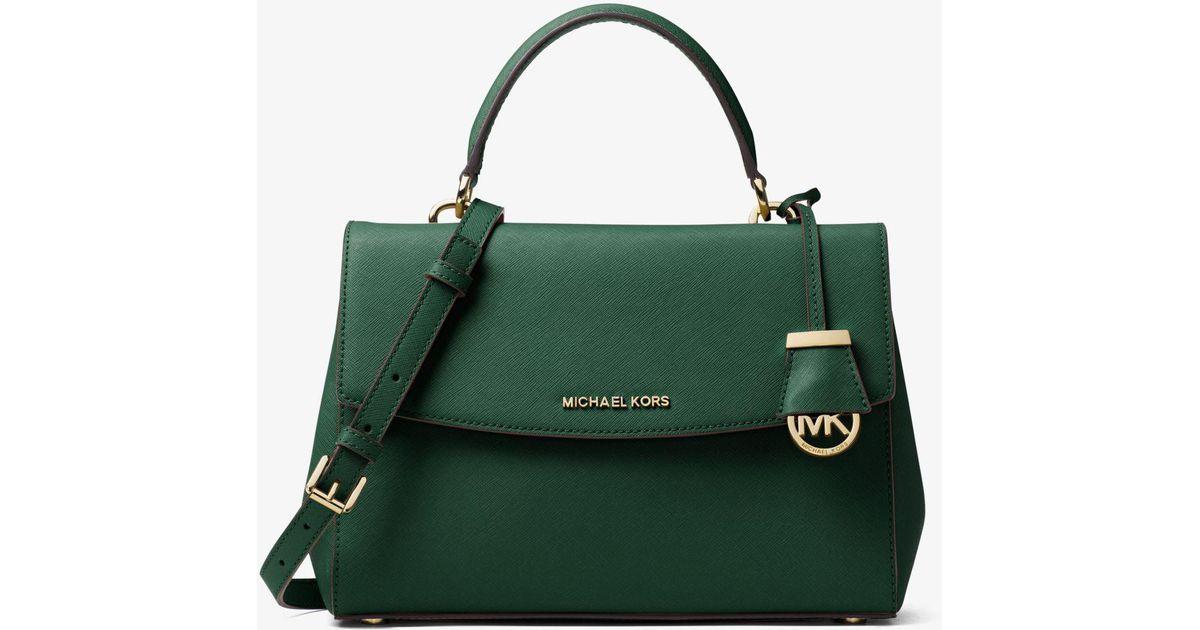 be2c94af82b6 Michael Kors Ava Medium Saffiano Leather Satchel in Green - Lyst