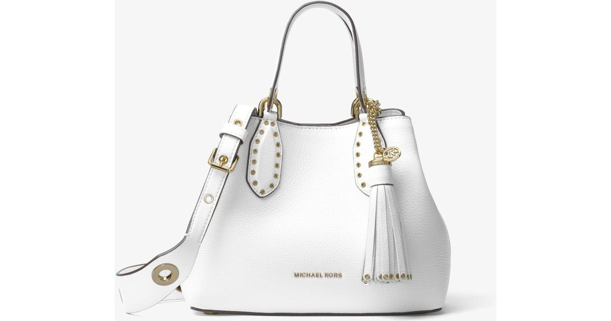 161e7b3cbe9f Michael Kors Brooklyn Small Leather Satchel in White - Lyst