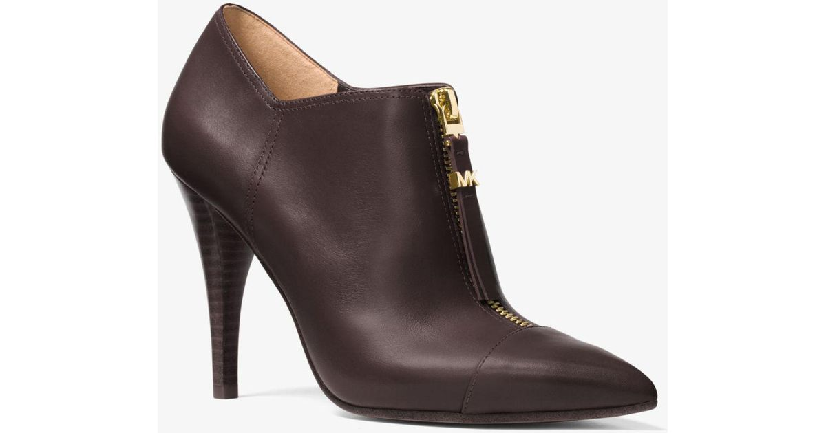 145a9966d4f71 Lyst - Michael Kors Andi Leather Bootie in Brown