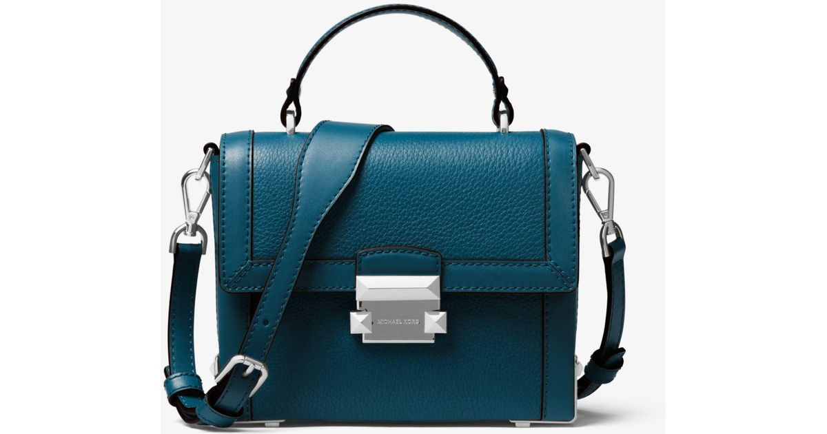 86922015362d Lyst - Michael Kors Jayne Small Pebbled Leather Trunk Bag in Blue