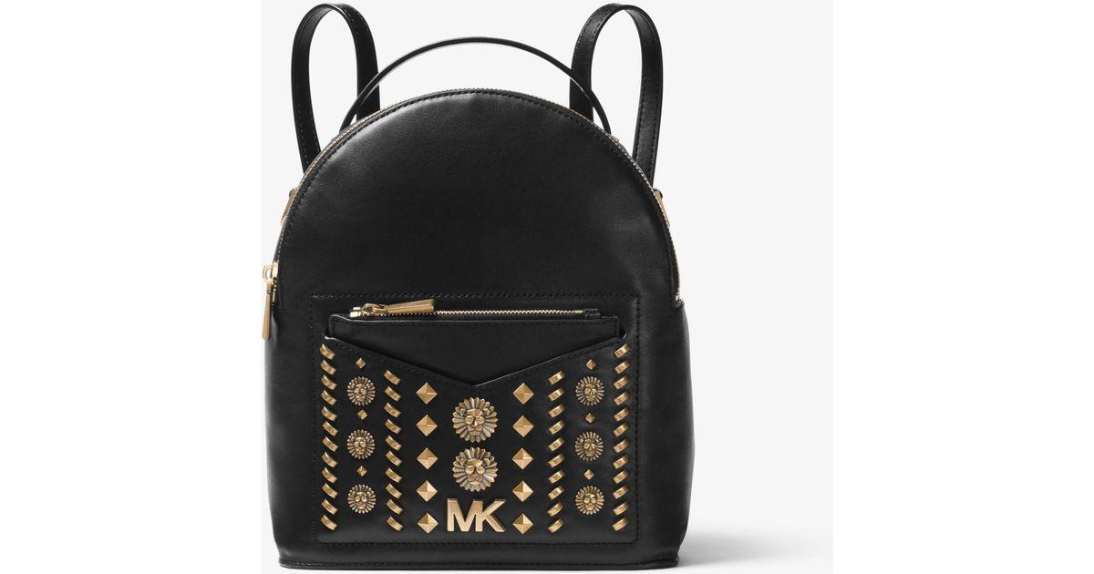 b3b48f303778da Michael Kors Jessa Small Embellished Leather Convertible Backpack in Black  - Lyst