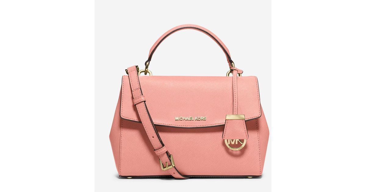 62c115dcb625 Lyst - Michael Kors Ava Small Saffiano Leather Crossbody Bag in Pink