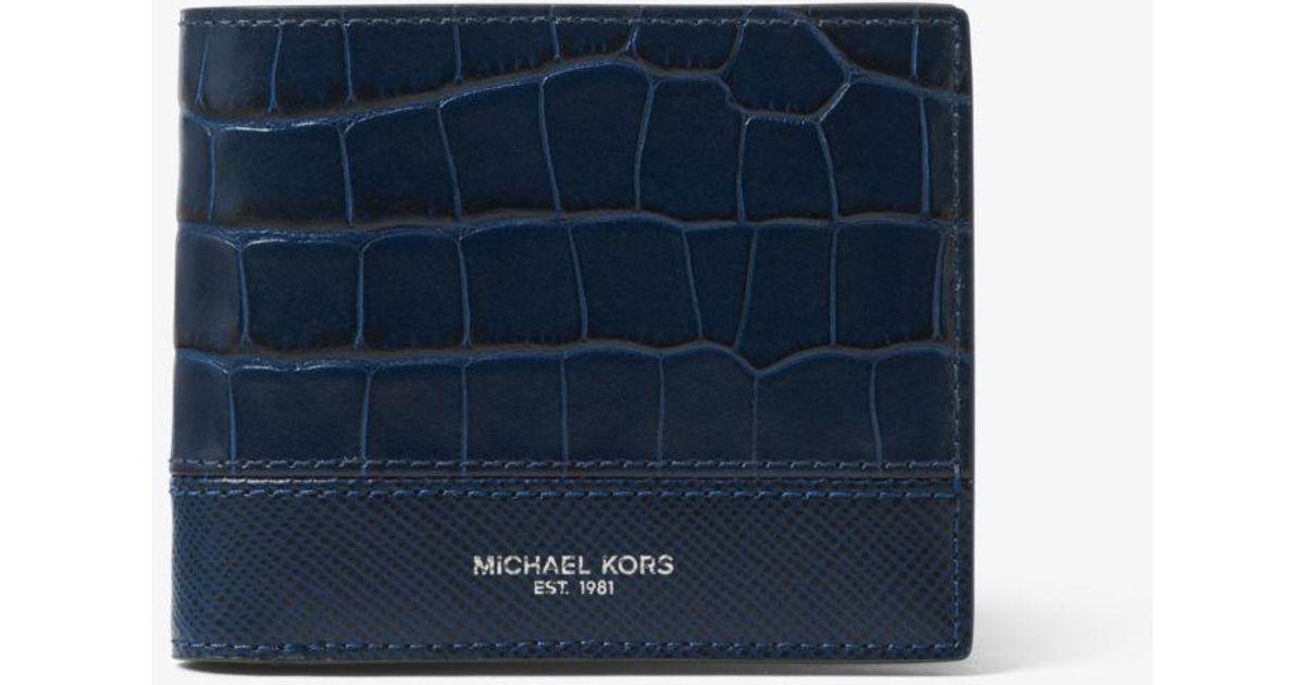 9af61cf26240 Michael Kors Harrison Crocodile-embossed Leather Id Billfold Wallet in Blue  for Men - Lyst
