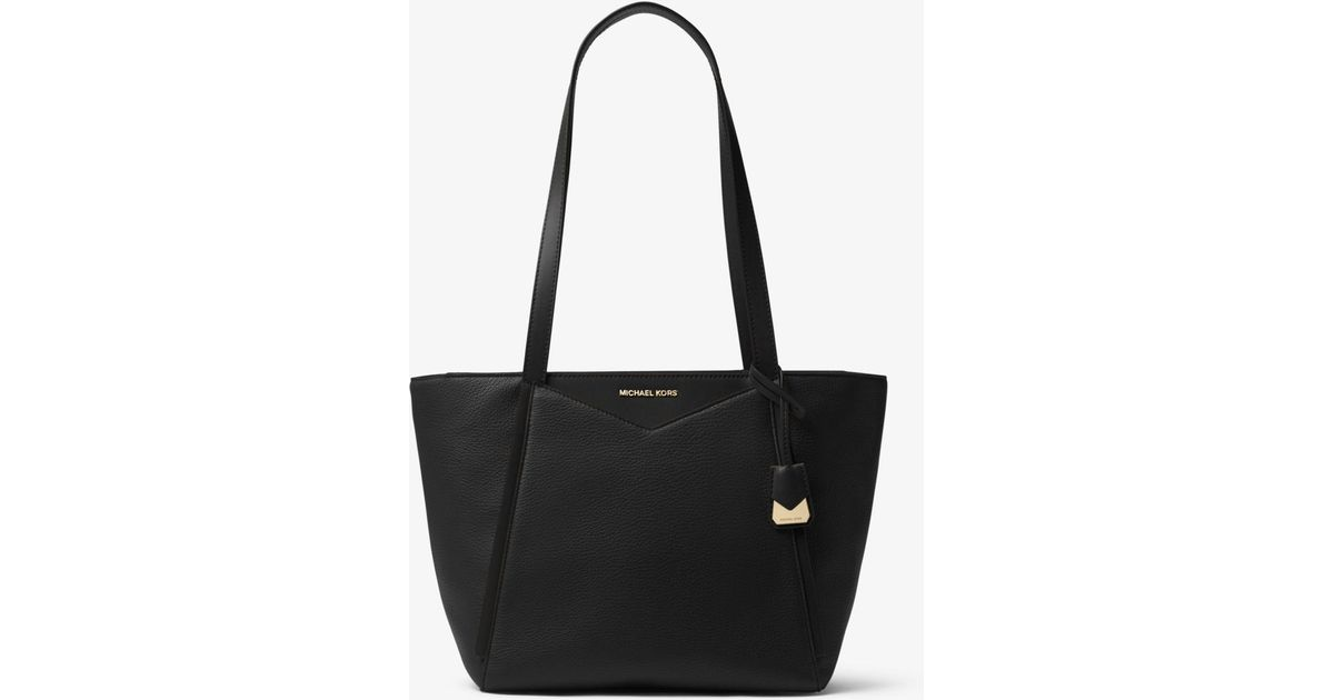 a95fcef89fe5 Lyst - Michael Kors Whitney Small Pebbled Leather Tote Bag in Black