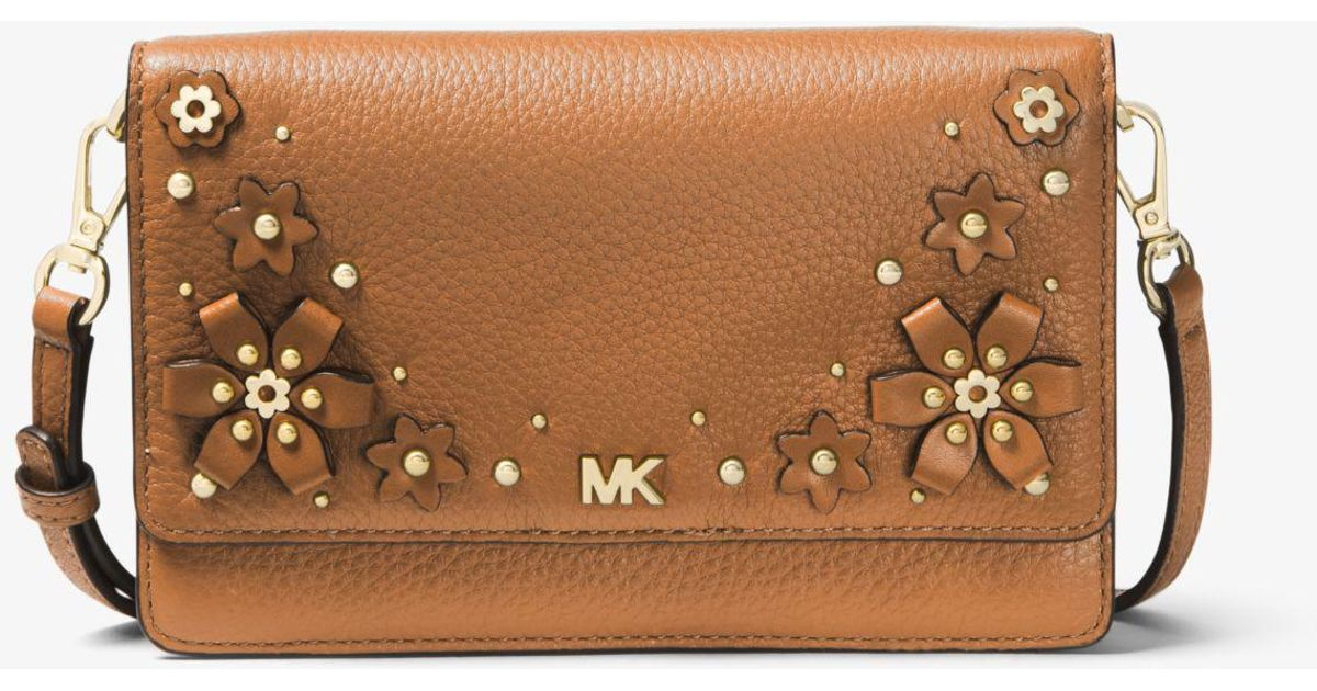 e614ea440615 Michael Kors Floral Embellished Pebbled Leather Convertible Crossbody Bag in  Brown - Lyst