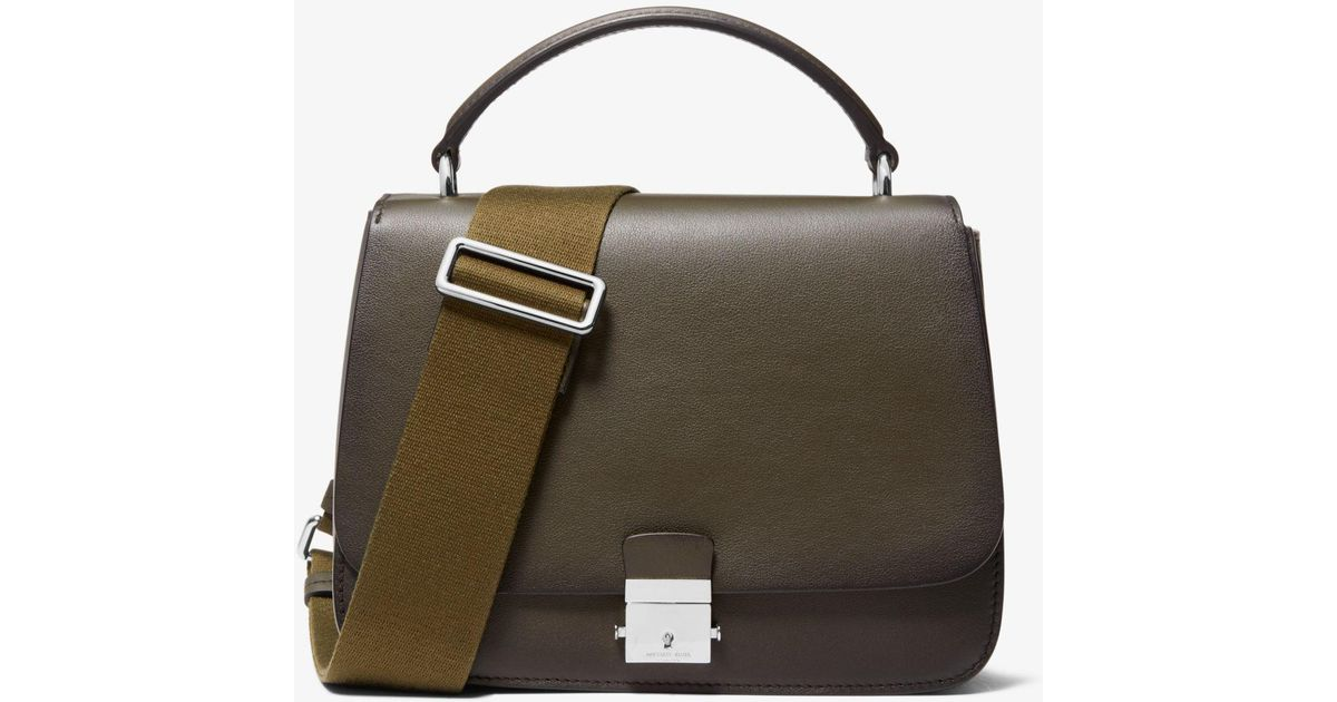 04f1b28948d8b Lyst - Michael Kors Mia Burnished Calf Leather Shoulder Satchel in Green