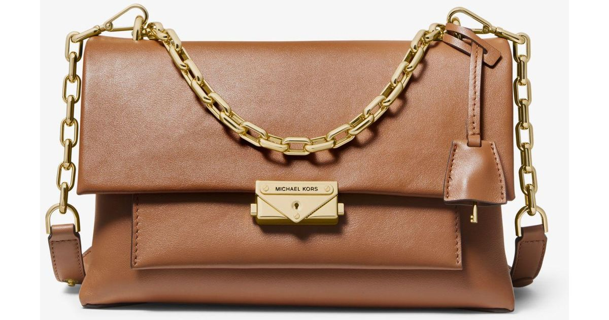 c072278b2675 Michael Kors Michael Cece Polished Leather Chain Shoulder Bag in Brown -  Save 15% - Lyst