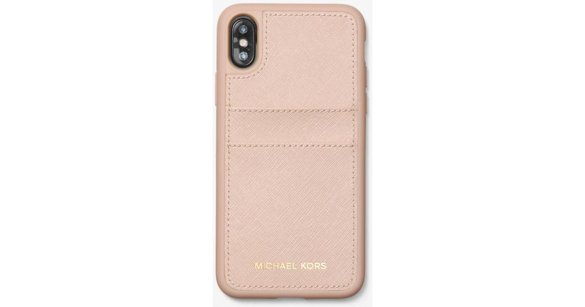 5d4f89179508 Michael Kors Saffiano Leather Case For Iphone X in Pink - Lyst