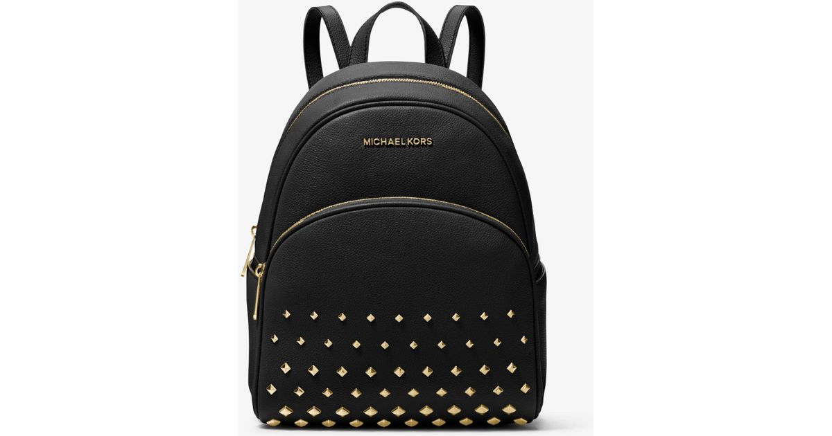 Lyst - Michael Kors Abbey Medium Studded Pebbled Leather Backpack in Black d9800d58bfb8f