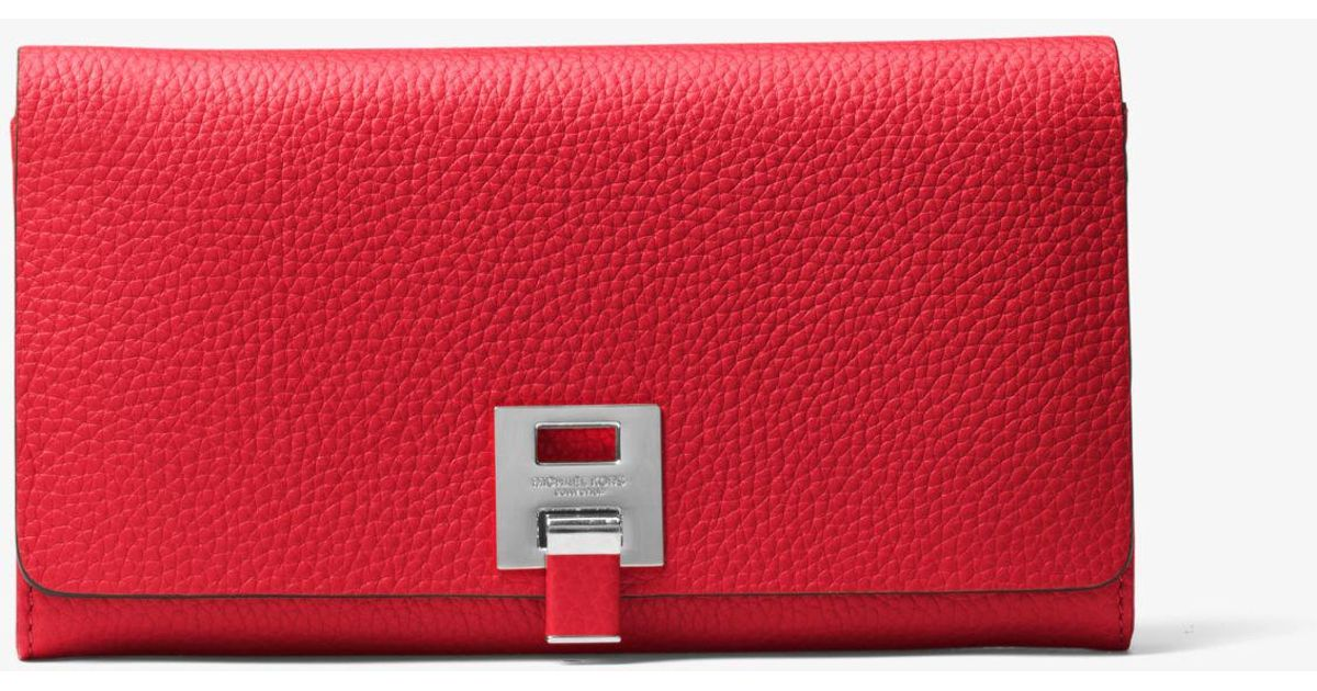 142a2447b850 Michael Kors Bancroft Pebbled Calf Leather Continental Wallet in Red - Lyst