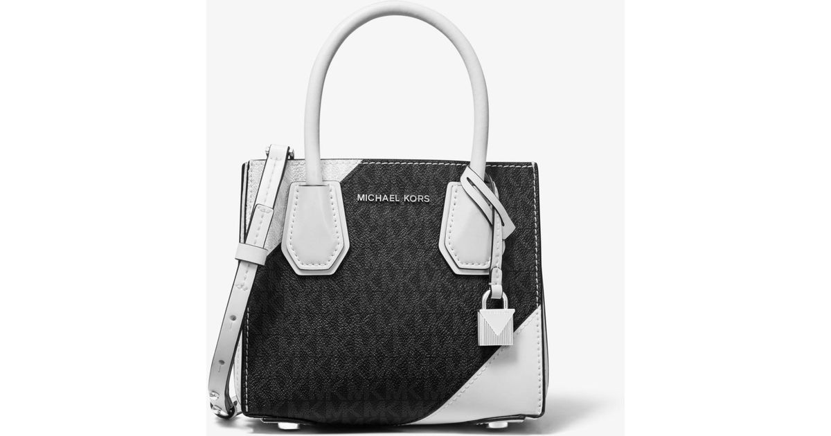 9a30a17097150 Michael Kors Mercer Two-tone Logo And Leather Accordion Crossbody in Black  - Lyst