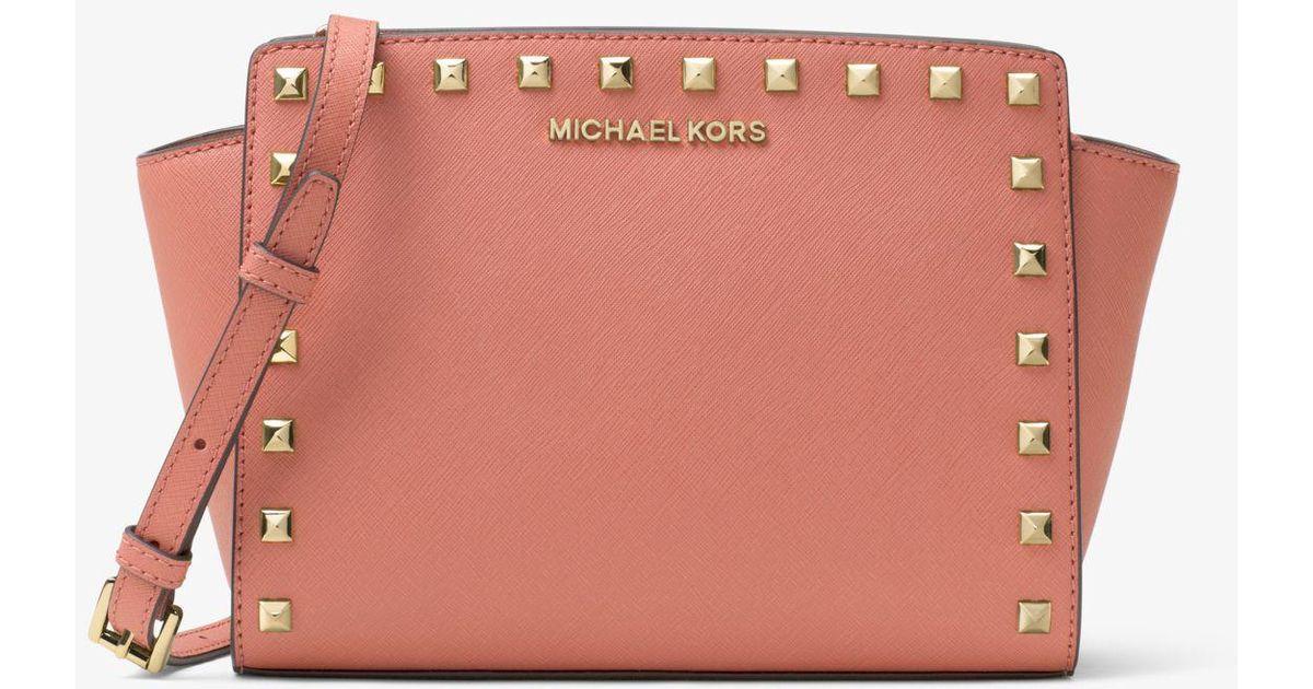 df99f2764995 Lyst - Michael Kors Selma Medium Metallic Leather Crossbody in Pink
